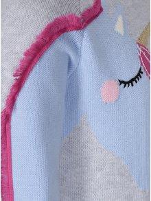 Sivý dievčenský sveter s jednorožcom Tom Joule Geegee