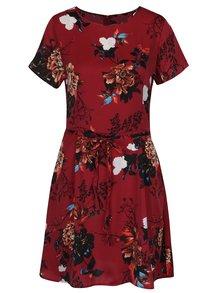 Vínové kvetované šaty so zaväzovaním ONLY Riga