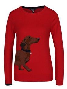 Červený dámský svetr s jezevčíkem Tom Joule Miranda