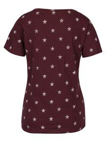 Tricou de bumbac roșu bordo cu paiete - ONLY Star