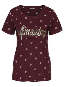 Vínové tričko s potlačou hviezd a flitrami ONLY Star