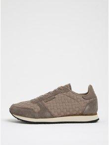 Pantofi sport bej cu detalii din piele intoarsa si model impletit pentru femei - Woden Ydun WS