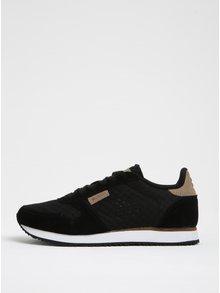 Pantofi sport negri cu detalii din piele întoarsă Woden Ydun pentru femei