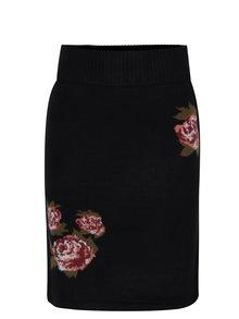 Čierna sukňa s motívom ruží VERO MODA Belmont