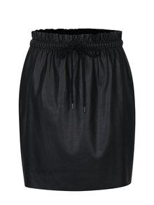 Černá koženková sukně s gumou v pase VERO MODA Riley