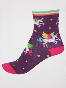 Tmavofialové dievčenské ponožky s jednorožcami Sock It to Me Winging It