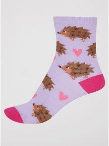 Ružovo-fialové dievčenské ponožky s ježkami Sock It to Me Hedgehog