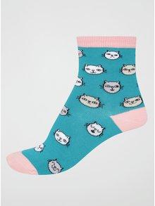 Ružovo-zelené dievčenské ponožky s mačkami Sock It to Me Feline Fine