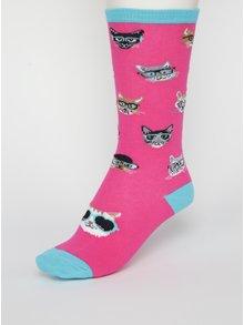 Ružové dievčenské podkolienky s mačkami Sock It to Me Smarty Cats