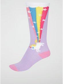 Svetlofialové dievčenské podkolienky s jednorožcom Sock It to Me Rainbow Blast