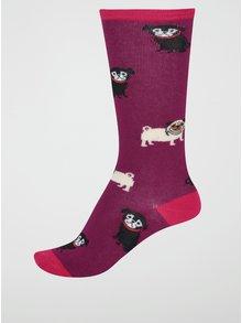 Fialové dievčenské podkolienky s mopsami Sock It to Me Pug Life