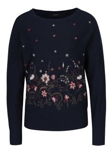 Tmavě modrý svetr s výšivkami květin VERO MODA Garden