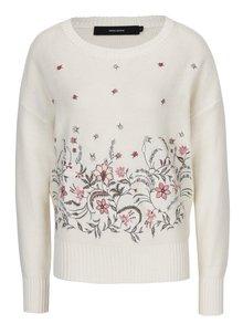 Krémový sveter s výšivkami kvetín VERO MODA Garden