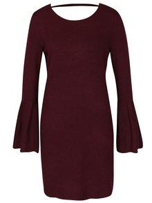 Vínové žíhané svetrové šaty se zvonovými rukávy VERO MODA Biggs