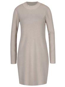 Béžové svetrové šaty s dlhým rukávom Yest