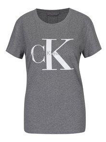 Šedé dámské tričko s potiskem Calvin Klein Jeans Shrunken