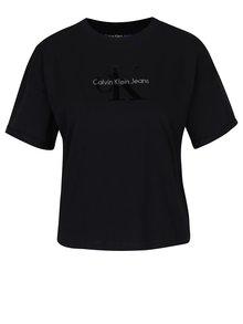 Černý oversize crop top Calvin Klein Jeans Teco