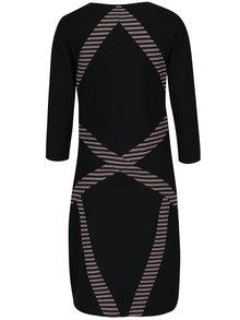 Ružovo-čierne vzorované puzdrové šaty Yest
