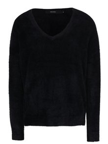 Černý volný svetr s véčkovým výstřihem VERO MODA Moraga