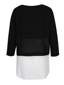 Černo-bílá halenka s všitou košilovou částí Yest