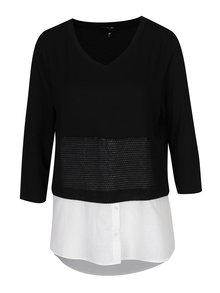 Čierno-biela blúzka so všitou košeľovou časťou Yest