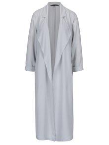 Šedý dlouhý lehký kabát s 3/4 rukávem VERO MODA Libi