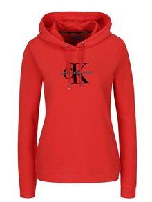 Červená dámská mikina s potiskem a kapucí Calvin Klein Jeans Honor