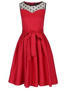 Rochie roșie cloș cu picouri și cordon în talie - Dolly & Dotty Elizabeth