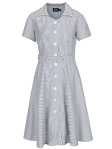 Rochie cămașă cu imprimeu cu dungi crem & albastru - Dolly & Dotty Janie