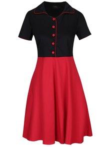 Rochie cu nasturi și aspect 2 în 1 negru & roșu - Dolly & Dotty Penelope