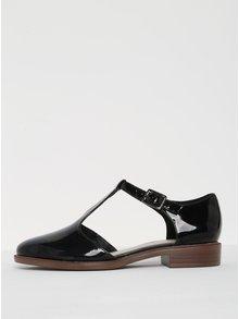 Čierne dámske lesklé kožené sandále Clarks Taylor Palm