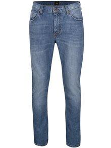Modré pánské slim džíny s vyšisovaným efektem Lee