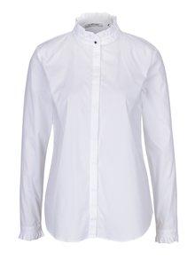 Biela košeľa s volánmi a ozdobným gombíkom Rich & Royal