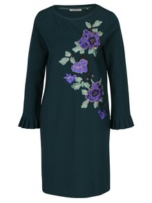 Tmavozelené šaty s nášivkami kvetín Rich & Royal