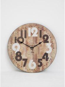 Hnědé dřevěné hodiny na zeď s velkými číslicemi Dakls