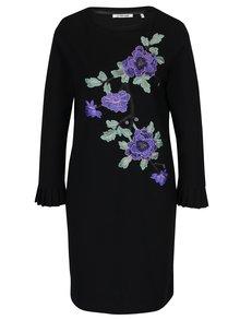 Černé šaty s nášivkami květin Rich & Royal