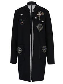 Čierny tenký kabát s nášivkami a plastickými ozdobami Rich & Royal