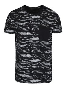 Šedo-černé vzorované tričko s kapsou Shine Original