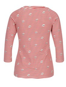 Krémovo-červené pruhované tričko s 3/4 rukávem Blutsgeschwister