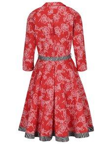 Červené kvetované šaty s 3/4 rukávom Blutsgeschwister