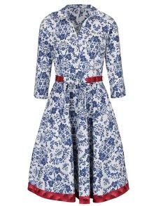 Modro-krémové květované šaty s 3/4 rukávem Blutsgeschwister
