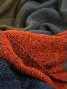 Fular cu franjuri in tonuri de bleumarin și portocaliu Pieces Jula