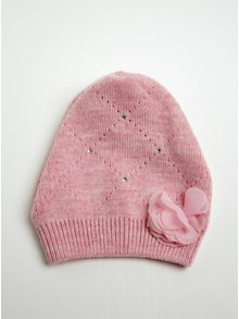 Růžová holčičí čepice s květinovou aplikací a kamínky 5.10.15.