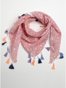 Ružová dievčenská šatka so strapcami a motívom hviezd 5.10.15.