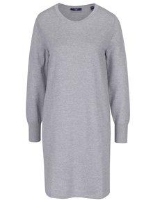 Sivé melírované svetrové vlnené šaty GANT