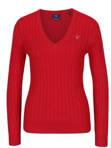 Červený dámsky sveter s véčkovým výstrihom GANT