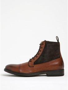 Hnedé pánske kožené členkové topánky Geox Jaylon