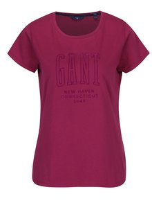 Tmavoružové dámske tričko s potlačou GANT