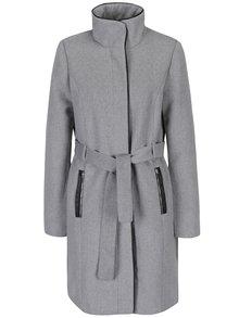 Světle šedý kabát s příměsí vlny VERO MODA Prato