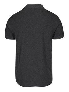 Tmavě šedé pánské žíhané slim polo tričko GANT